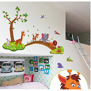 cheap Wall Stickers-New cartoon animal across the bridge children's room bedroom removable decorative wall sticker AY9245