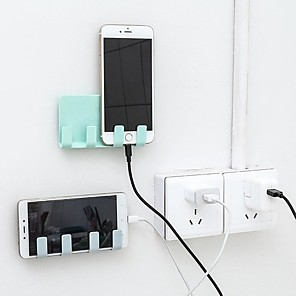 cheap Phone Mounts & Holders-Hot Products Pop Wall Holder Practical Socket Charging Box Bracket Stand Shelf Mount Support Universal for Mobile Phone Tablet wallet