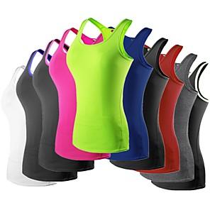 ราคาถูก ชุดออกกำลังกายและชุดโยคะ-YUERLIAN สำหรับผู้หญิง เรเซอร์แบ็ค useless เสื้อกล้ามรัดรูป การกรีฑา ระบายอากาศ แห้งเร็ว ฟิตเนส วิ่ง วิ่งออกกำลังกาย กีฬา สีพื้น เสื้อกั๊ก เสื้อกล้าม Base Layer Top / ยืด