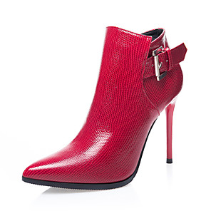 cheap Women's Boots-Women's Boots Stiletto Heel Pointed Toe Buckle PU Booties / Ankle Boots Classic Winter Red / Black / Gray / Party & Evening