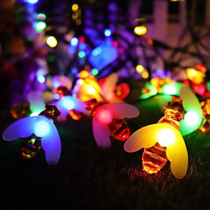 cheap LED String Lights-ZDM Waterproof 5M 50 pcs Multi-color USB 5V or AA Battery powered Honey Bee Shape LED Lamp string for Home Lighting Decorations Holiday party atmosphere