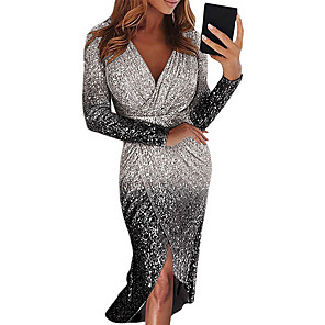 cheap Women's Heels-Women's Bodycon Short Mini Dress - Long Sleeve Color Gradient Color Block Sequins Ruched Deep V Deep V Sexy Cocktail Party New Year Going out Black Blue Purple Red Yellow Blushing Pink Gold Silver S