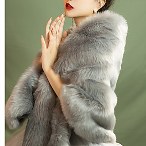 cheap Wedding Wraps-Sleeveless Capes Wool / Faux Fur Wedding / Party / Evening Women's Wrap With Solid / Fur