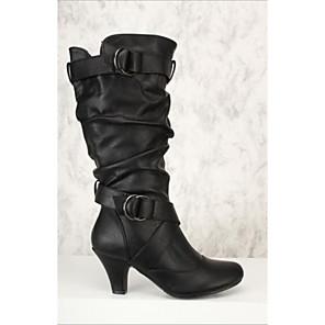 cheap Women's Boots-Women's Boots Stiletto Heel Round Toe PU Mid-Calf Boots Fall & Winter Black / White