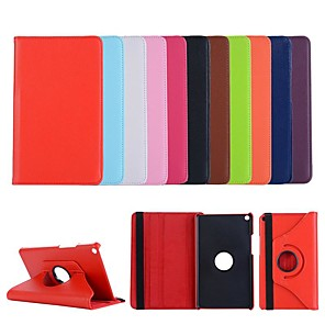 cheap Huawei Case-Case For Huawei Huawei Mediapad T5 10 360° Rotation / Shockproof / with Stand Full Body Cases Solid Colored PU Leather