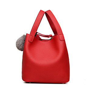 cheap Handbag & Totes-Women's Bags PU Leather Top Handle Bag Buttons for Going out / Beach Black / Red / Fall & Winter