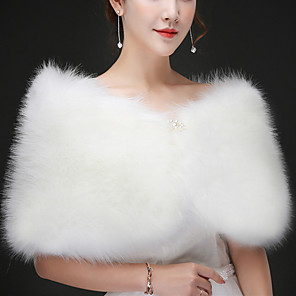cheap Wedding Wraps-Sleeveless Capelets Rabbit Fur Wedding / Party / Evening Women's Wrap With Solid / Fur / Crystal Floral Pin