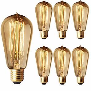 cheap Desk Lamps-6-Pack 40W Edison Light Bulbs ST58 Filament Vintage Bulb Antique Style Incandescent Light Bulbs - E26/E27 Base - Clear Glass - Tear Drop Top Lamp for Chandeliers Wall Sconces Pendant Lighting
