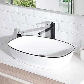 cheap Bathroom Sink Faucets-Bathroom Sink Contemporary - Glass Rectangular Vessel Sink