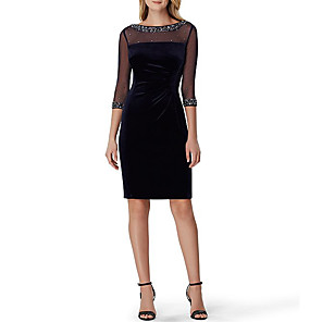 cheap Cocktail Dresses-Sheath / Column Sparkle Black Wedding Guest Cocktail Party Dress Illusion Neck 3/4 Length Sleeve Knee Length Stretch Satin Velvet with Crystals Sequin 2020