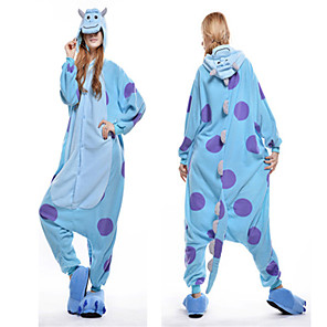 cheap Dolls Accessories-Adults' Monster Kigurumi Pajamas Blue Onesie Pajamas Polar Fleece Blue Cosplay For Animal Sleepwear Cartoon Halloween Festival / Holiday / Christmas