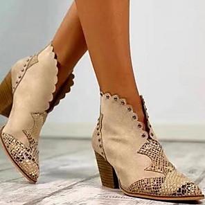 cheap Women's Sandals-Women's Boots Chunky Heel Pointed Toe PU Fall & Winter Black / Brown / Almond