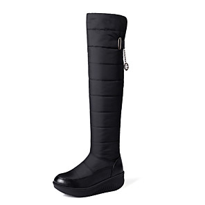 cheap Women's Boots-Women's Boots Snow Boots Wedge Heel Round Toe PU / Synthetics Over The Knee Boots Sweet / Minimalism Spring &  Fall / Fall & Winter Black / Blue