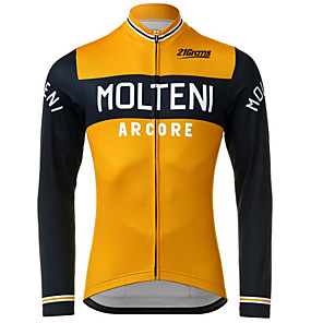 cheap Cycling Jerseys-Men's Long Sleeve Cycling Jersey Winter Polyester Black / Orange Bike Jersey Pants Top Mountain Bike MTB Road Bike Cycling UV Resistant Breathable Quick Dry Sports Clothing Apparel / Stretchy