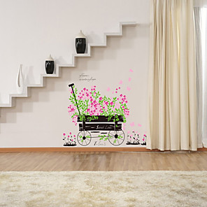 cheap Wall Stickers-Romantic pink float car love wedding decoration bedroom living room background decoration removable sticker AY705