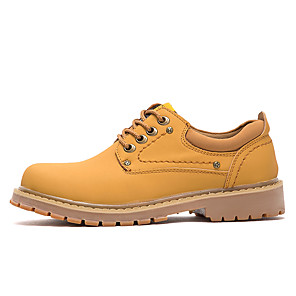 cheap Men's Boots-Men's Fashion Boots Leather / Cowhide Spring & Summer / Fall & Winter British / Preppy Boots Walking Shoes Breathable Light Brown / Dark Brown / Yellow