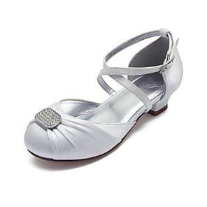 cheap Kids' Tiny Heels-Girls' Mary Jane Satin Heels Little Kids(4-7ys) / Big Kids(7years +) Rhinestone White / Ivory Spring / Party & Evening / Rubber