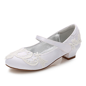 cheap Kids' Tiny Heels-Girls' Mary Jane Satin Heels Little Kids(4-7ys) / Big Kids(7years +) Stitching Lace White / Ivory Spring / Party & Evening / Rubber