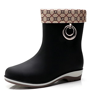 cheap Women's Boots-Women's Boots Rain Boots Flat Heel Round Toe PU Mid-Calf Boots Winter Black / Brown / Almond