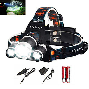 cheap Flashlights & Camping Lanterns-Headlamps Headlight Waterproof Rechargeable 6000 lm LED Emitters 1 Mode with Batteries and Charger Waterproof Zoomable Rechargeable Super Light Camping / Hiking / Caving Everyday Use Diving / Boating