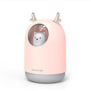 cheap Humidifiers-Home Appliances USB Humidifier 300ml Cute Pet Ultrasonic Cool Mist Aroma Air Oil Diffuser Romantic Color LED Lamp Humidificador