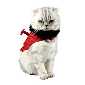 cheap Dog Clothes-Dog Cat Ornaments Bandanas & Hats Solid Colored Angel & Devil Party / Evening Outdoor Winter Dog Clothes Red Costume Terylene S M L