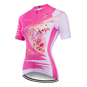 cheap Cycling Jerseys-CAWANFLY Women's Short Sleeve Cycling Jersey Dark Pink Floral Botanical Bike Jersey Top Mountain Bike MTB Road Bike Cycling Breathable Quick Dry Back Pocket Sports Clothing Apparel / Advanced
