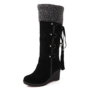 cheap Women's Boots-Women's Boots Wedge Heel Round Toe PU Mid-Calf Boots Winter Black / Brown / Beige