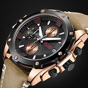 cheap Cell Phones-MEGIR Men's Sport Watch Aviation Watch Hybrid Watch Japanese Quartz Three-eye Six-needle Genuine Leather Black / Brown / Pool 30 m Water Resistant / Waterproof Calendar / date / day Chronograph Analog