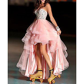 cheap Latin Dancewear-A-Line Color Block Prom Formal Evening Dress Sweetheart Neckline Sleeveless Asymmetrical Tulle with Beading 2020