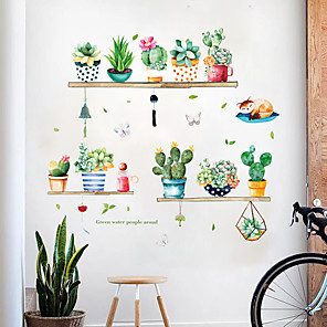 cheap Wall Stickers-Decorative Cactus Potted Plants Wall Stickers - Plane Wall Stickers Landscape / Floral / Botanical Living Room / Bedroom / Kitchen