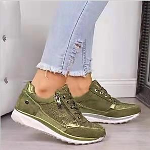 cheap Women's Boots-Women's Sneakers Flat Heel Round Toe Suede Booties / Ankle Boots Fall & Winter Green / Blue / Beige