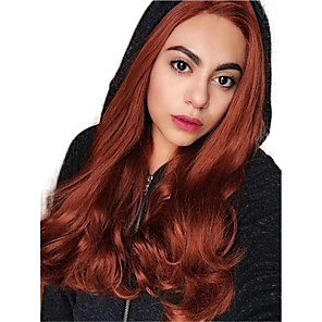 cheap Synthetic Lace Wigs-Synthetic Lace Front Wig Wavy Middle Part Lace Front Wig Long Orange Synthetic Hair 18-26 inch Women's Adjustable Heat Resistant Party Brown