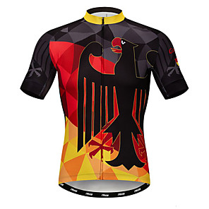 cheap Cycling Jerseys-21Grams Men's Short Sleeve Cycling Jersey Black / Red Germany National Flag Bike Jersey Top Mountain Bike MTB Road Bike Cycling Breathable Moisture Wicking Quick Dry Sports Polyester Elastane Terylene