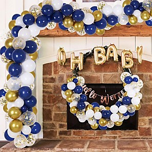 cheap Christmas Decorations-Gold Balloon Garland Arch Kit,  Navy Blue White Gold Confetti Balloons for Bridal Shower Birthday Party Decorations