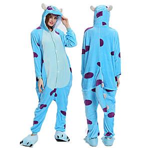 cheap Kigurumi Pajamas-Adults' Kigurumi Pajamas Cartoon Onesie Pajamas Flannelette Blue Cosplay For Men and Women Animal Sleepwear Cartoon Festival / Holiday Costumes