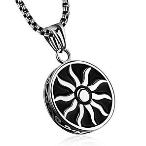 cheap Pendant Necklaces-Men's Pendant Necklace Geometrical Sun Fashion Titanium Steel Silver 50 cm Necklace Jewelry 1pc For Gift Daily