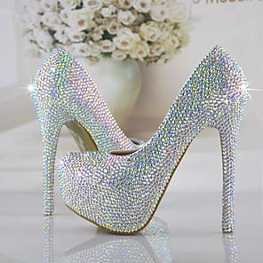 cheap Women's Heels-Women's Wedding Shoes Stiletto Heel Round Toe Rhinestone / Sparkling Glitter PU Vintage / Sweet Fall & Winter Rainbow / Party & Evening / Color Block