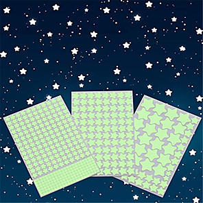 cheap Wall Stickers-Glow in The Dark Stars Wall Stickers Glowing Stars for Ceiling and Wall Decals 3D Glowing StarsExcluding The MoonPerfect for Kids Bedding Room or Party Birthday Gift(452Pcs Green