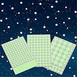 billige Veggklistremerker-glød i de mørke stjernene veggklistremerker glødende stjerner for tak og veggoverføringsbilder 3d glødende stjernekjønt månens perfekt for sengetøy for barn eller fest bursdagsgave (452stk grønn
