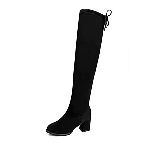 cheap Women's Boots-Women's Boots Chunky Heel Round Toe Suede Over The Knee Boots Fall & Winter Black