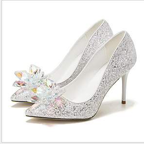 cheap Wedding Shoes-Women's Wedding Shoes Stiletto Heel Pointed Toe Rhinestone PU Winter White / Silver