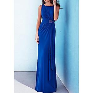 cheap Prom Dresses-Sheath / Column Minimalist Blue Wedding Guest Formal Evening Dress Jewel Neck Sleeveless Floor Length Stretch Satin with Draping Appliques 2020