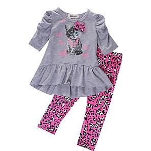 cheap Kids Collection Under $8.99-Kids Girls' Basic Print Long Sleeve Clothing Set Gray