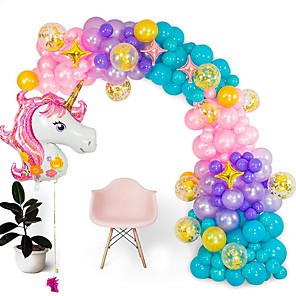 cheap Christmas Decorations-Shimmer and Confetti Premium  Pearlized Unicorn Balloon Arch and Garland Kit - Giant Unicorn, Pump, Gold Confetti, Strip. Pink Purple Aqua. Unicorn Party Supplies for Birthdays & Baby Showers