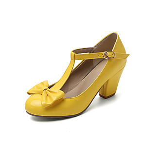 cheap Women's Heels-Women's Heels Chunky Heel Round Toe Bowknot Patent Leather Sweet / Minimalism Spring & Summer Black / Yellow / Red / Party & Evening