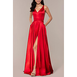 cheap Prom Dresses-A-Line Empire Red Wedding Guest Prom Dress V Neck Sleeveless Sweep / Brush Train Charmeuse with Split Front 2020