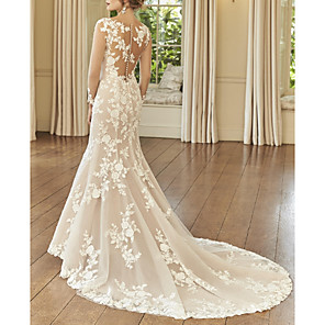 cheap Women's Sandals-Mermaid / Trumpet Wedding Dresses Jewel Neck Court Train Lace Long Sleeve Romantic See-Through Illusion Sleeve with Embroidery 2020