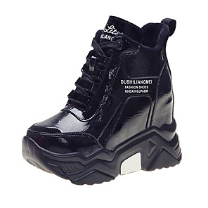 cheap Women's Boots-Women's Sneakers Hidden Heel Round Toe PU Spring & Summer Black / Silver / Red
