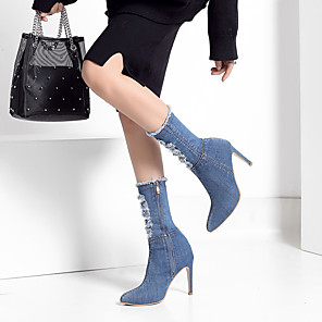 cheap Women's Boots-Women's Boots Stiletto Heel Pointed Toe Denim Mid-Calf Boots Business / Vintage Spring &  Fall / Fall & Winter Light Blue / Dark Blue / Party & Evening